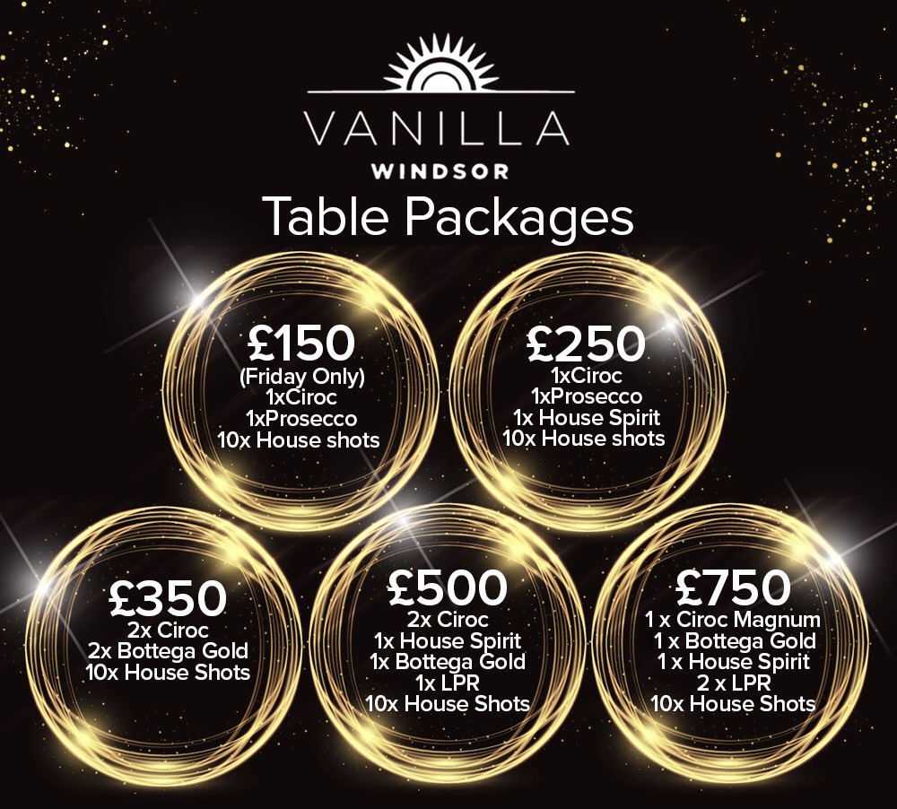 Vanilla Windsor Tables Drinks Packages